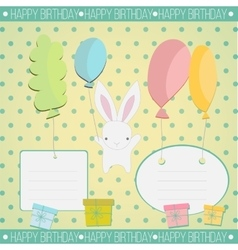 Little white bunny birthday gift vector