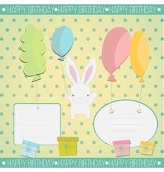 Little white bunny Birthday gift vector image vector image