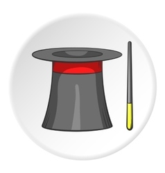 Magician hat and magic wand icon cartoon style vector image vector image