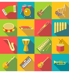 Musical instruments color icons set flat style vector image