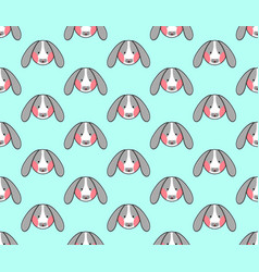 rabbit seamless on blue mint background vector image