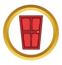 Red wooden door icon cartoon style vector