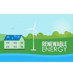 Renewable energy Sun and wind generation vector image