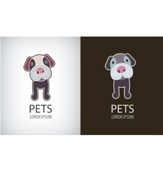 set of funny cartoon dog logo icon vector image