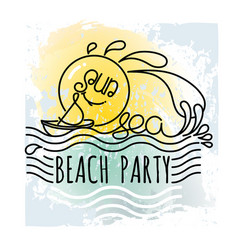 Sun and sea beach party vacation hand drawn vector