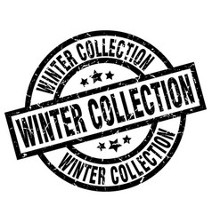 Winter collection round grunge black stamp vector