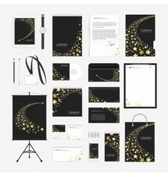 Yellow stars corporate identity template vector image vector image