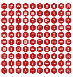 100 home icons hexagon red vector