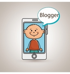 boy cellphone blogger web vector image