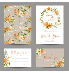 Wedding Invitation Set - Autumn Lily Floral Theme vector image