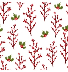 Christmas berry flower seamless pattern vector image