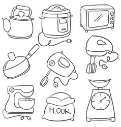 Kitchen set hand draw vector