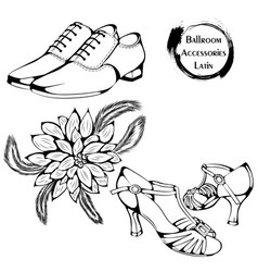 Dance line ballroom latina accessories vector