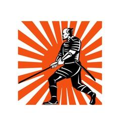 samurai warrior with sword in fighting stance vector image