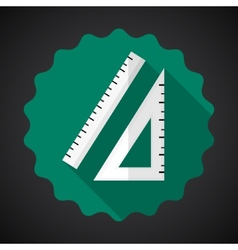 Designer drawing item ruler flat icon with long vector