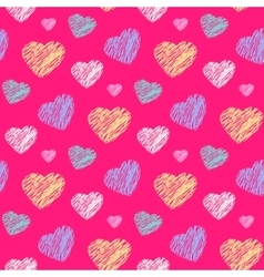 Scribble hearts pattern vector