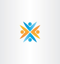 People teamwork orange blue logo sign vector