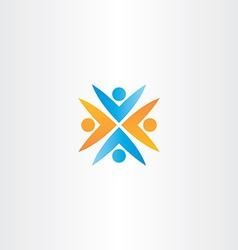 people teamwork orange blue logo sign vector image