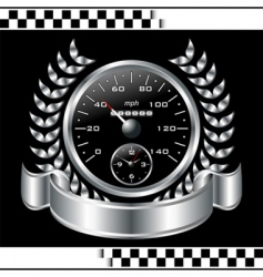 Speedometer racing shield vector