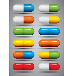 Medical pills set vector