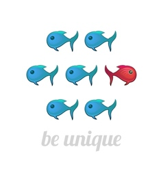 Be unique concept blue and red fish isolated vector