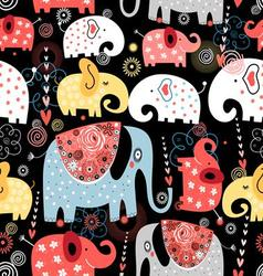 Beautiful pattern of colorful elephants vector image