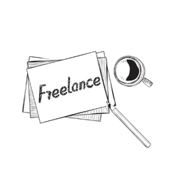 Business doodles icons concept of freelance vector