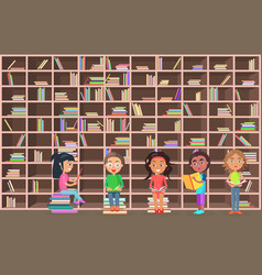 children in library read books beside bookcase vector image vector image
