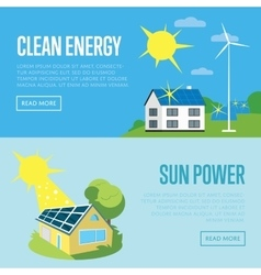 Clean energy and sun power vertical banners vector