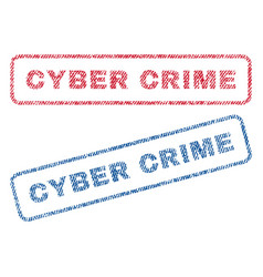 Cyber crime textile stamps vector