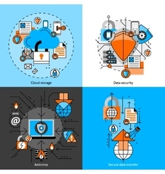 Data Security And Storage Icons Set vector image