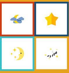 Flat icon midnight set of night starlet midnight vector