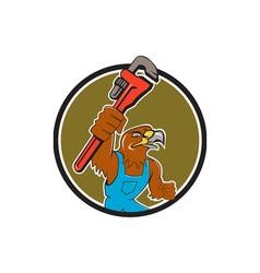 Hawk plumber wrench circle cartoon vector