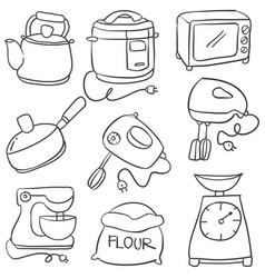Kitchen set hand draw vector
