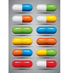 Medical pills set vector