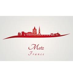 Metz skyline in red vector image vector image