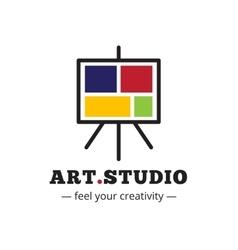 minimalistic art studio logo Easel vector image vector image