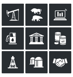 Oil and gas industry Icons Set vector image vector image