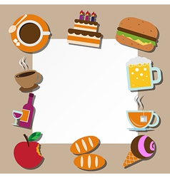 Paper note and food icons set vector image vector image