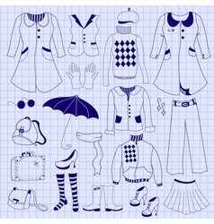 Retro woman clothes drawing pen on notebook sheet vector image