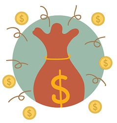 Saving money bag with money coin modern flat vector