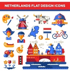 Set of flat design holland travel icons vector