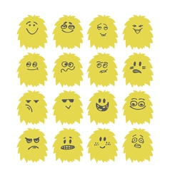 Set of hand drawn cute smiley monsters collection vector