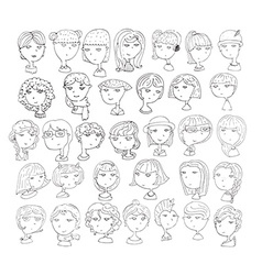Set of handdrawn girls heads 33 different vector image vector image