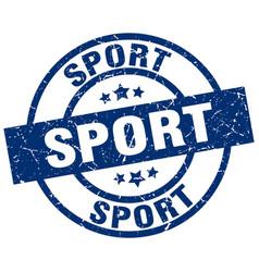 sport blue round grunge stamp vector image vector image