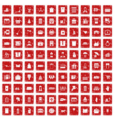 100 box icons set grunge red vector