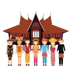 Indonesia ethnic group wearing traditional dress vector