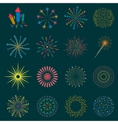 Firework icon set with petard stars festival vector