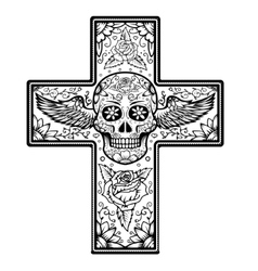 Monochrome cross with winged sugar skull isolated vector