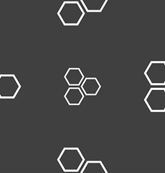 Honeycomb icon sign seamless pattern on a gray vector